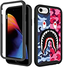 GUGU6JI iPhone SE 2020 Case,iPhone 6 6s, iPhone 8 Cool Camo Case, iPhone 7 Cases for Boys Girls Design Shockproof Rugged Dual Layer Bumper Full-Body Protective Cover 4.7inch - Pink Blue Shark