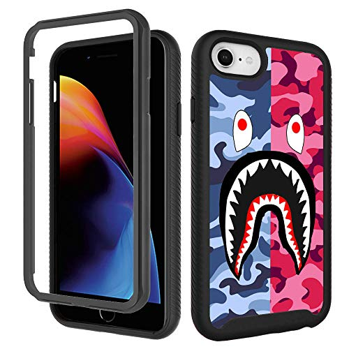 iPhone SE 2020 Case,iPhone 6 6s, iPhone 8 Cool Camo Case, iPhone 7 Cases for Boys Girls Design Shockproof Rugged Dual Layer Bumper Full-Body Protective Cover 4.7inch - Pink Blue Shark