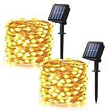 [2 piezas] Guirnaldas Luces Exterior Solar, BrizLabs 10m 100 LED...