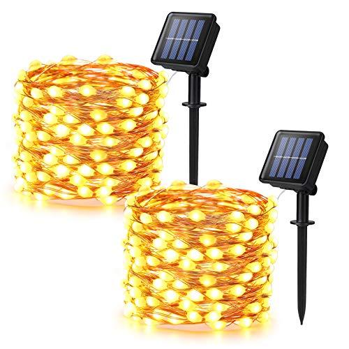 [2 piezas] Guirnaldas Luces Exterior Solar, BrizLabs 10m 100 LED Cadena de Luces Cuentas Más Grandes Superbrillantes Impermeable 8 Modos Luces Led Solares para Jardine Terraza Boda Fiesta Navidad
