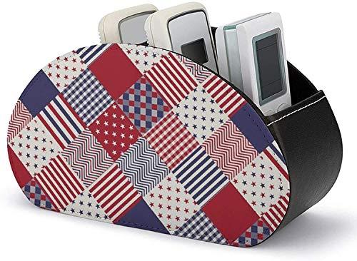 Soporte de control remoto todo en uno de 5 compartimentos, cuero de la PU EE. UU. Americana Diagonal Rojo Blanco Azul Edredón Caddy remoto Organizador de escritorio para DVD / Blu-Ray / Reproductor