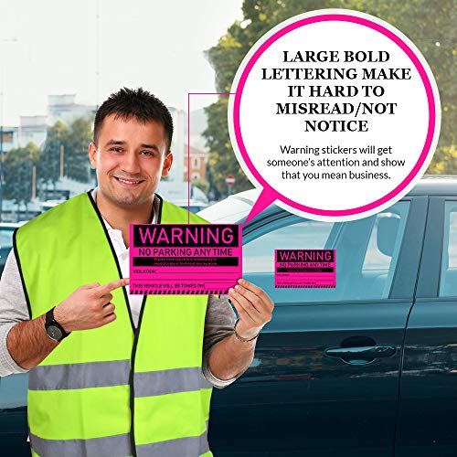 """No Parking Violation Stickers Hard to Remove (Pink) 10-Pack Towing Tags for Illegally Parked Vehicles in Your Lot - Super Sticky Car Permit Notices for Bad or Careless Parking 8"""" x 5"""" by MESS Photo #2"""