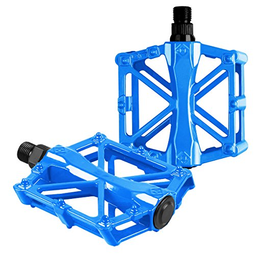 Bike pedals - Mountain Bike Pedals - Aluminum CNC Bearing Bicycle Pedals - Road Bike Pedals with 16 Anti-skid Pins - Lightweight Platform Pedals - 9/16' Spindle Bike Pedal for BMX/MTB Bike Blue