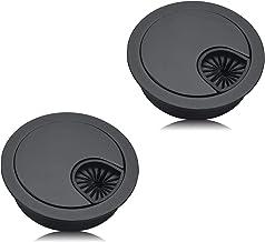 YFaith 2 Stks High End Desk Caps 60 mm, Cord Hole Cover Organizers voor Bureaus, Kantoor, Werkbladen (Zwart)