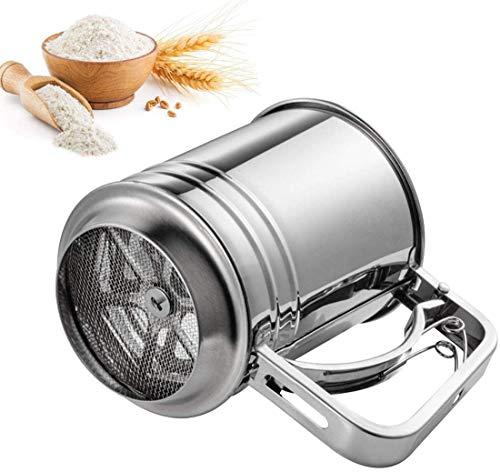 CTTPEG Tamiz de mano de acero inoxidable para harina de azúcar, harina de tapioca, harina de coco, harina de tarta, herramienta de cocina