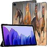 QIYI Hülle für Samsung Galaxy Tab A7 2020, 10.4 Zoll Leicht Hülle Tablet Schutzhülle (SM-T500 / T505 / T507), PU Leder Kinder Slim Cover mit Standfunktion Laufende Pferde