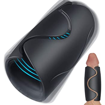 Male Masturbator with 10 Vibrating Modes, 2020 Newest Vibrating Masturbation Toywith Heating for Men Masturbation, Allovers Handhold Penis Vibrator Adult Sex Toy for Improving Men's Durability