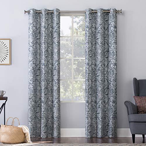 "No. 918 Kenji Medallion Draft Shield Fleece Insulated Energy Efficient Grommet Curtain Panel, 40"" x 84"", Navy Blue"
