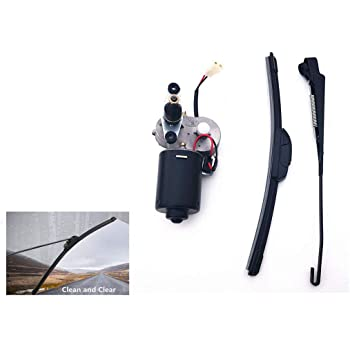 Electric UTV Windshield Wiper Kit,with 12V Motor Fit for Polaris Ranger RZR 900 1000 Wiper Blade and Motor with 90 Degree Wipe Universal Windshield Wiper Arm 15.7