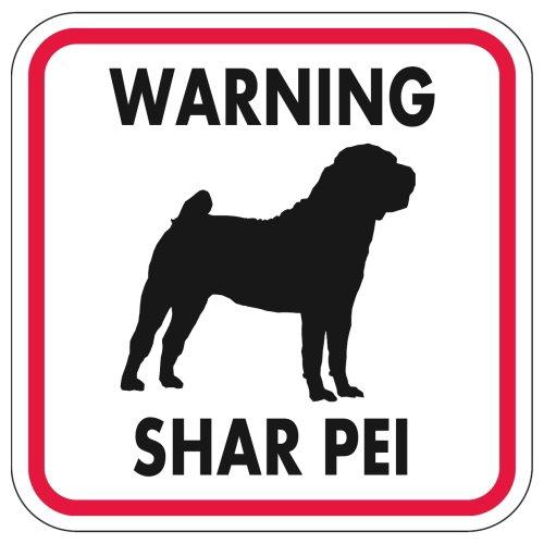 WARNING SHAR PEI マグネットサイン:シャーペイ(レッドフレーム)Mサイズ
