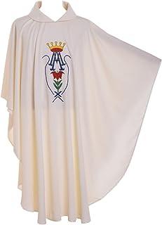 BLESSUME Sacerdote Pianeta culbianco Ricamato Massa Vestment Accappatoio