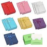 HAKOTOM 14 cajas de regalo de joyería rectangulares con lazo caja de regalo elegante de cartón con 14 piezas de esponja de limpieza de joyas, para anillos, collares, pendientes y pulsera para mujer