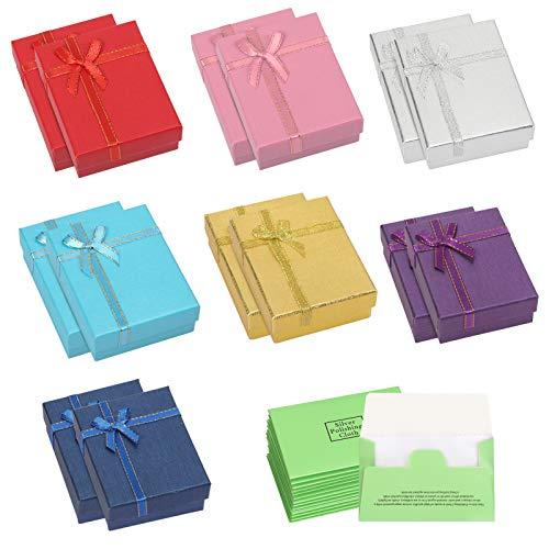 HAKOTOM 14pcs Bunt Geschenkbox Klein Schmuck Karton Box Elegante Schmuckschachtel Quadratisch Geschenkschachtel Ringboxen Schmuckschatulle mit Deckel Schleife 7x9x3cm für Kette Armband Ring Ohrringe