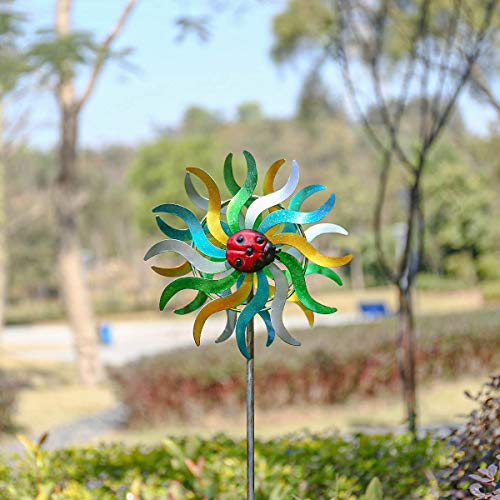 Tooarts Wind Spinner Dual Direction Wind Spinner Reflective Painting&Rustless Metal for Outdoor Yard Patio Lawn & Garden Decorations Multi-Colour (sunflower)