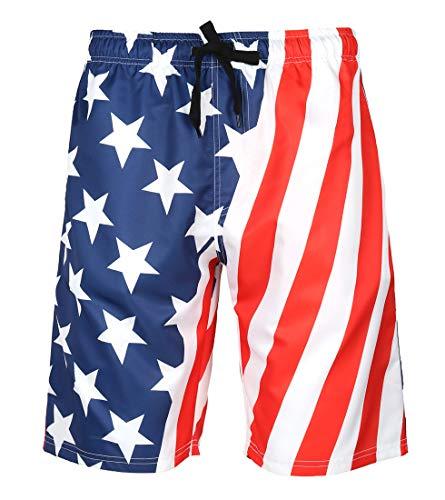 LAUSONS Herren Badeshorts Kurze Badehose Sommer Bade Bermuda für Männer Schwimm Hosen Schwimmshorts mit Taschen - Amerikanische Flagge - Etikettengröße XL