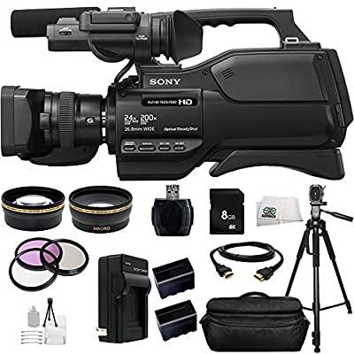 Sony HXR-MC2500 HXRMC2500 Shoulder Mount AVCHD Camcorder with 3-Inch LCD (Black) + 13PC Accessories Bundle Including .43x Wide Angle Lens, 2.2X Telephoto Lens, 3 Piece Multi-Coated Filter Kit + More from SSE