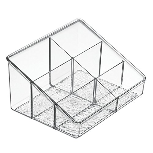 Price comparison product image InterDesign Rain Vanity Organizer,  Beauty Products,  Cosmetics,  Makeup Storage,  6 Compartments - Medium,  Clear