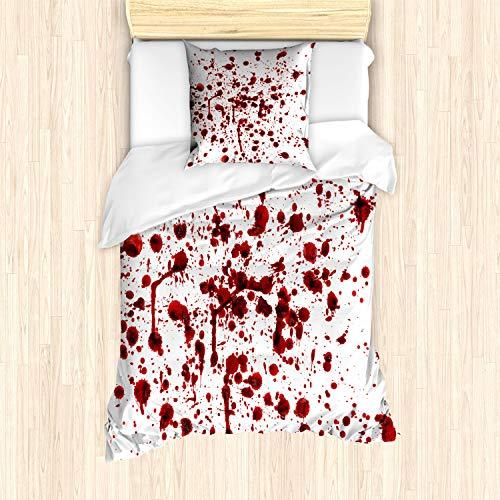 ABAKUHAUS Horror Funda Nórdica, Salpicaduras de Sangre Scary, Decorativo, 2 Piezas con 1 Funda de Almohada, 135 x 200 cm, Rojo Blanco