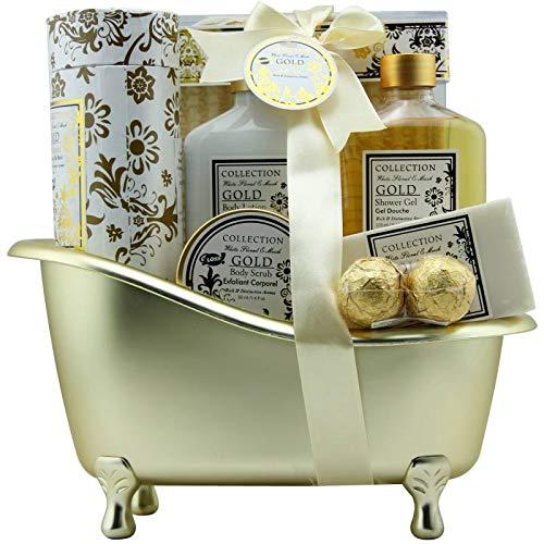 Coffret cadeau beauté pour femme - Baignoire de Bain dorée - Collection Gold - Fleurs blanches/Muscs
