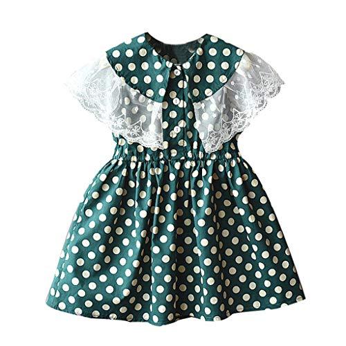 Julhold Peuter Baby Kids Meisjes Mooie Elegante Vrije tijd Kant Patchwork Dot Print Prinses Jurken Casual Kleding 2-7 Jaar