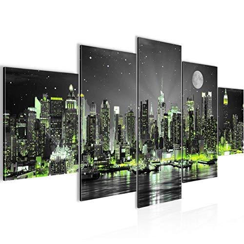 Runa Art - Bilder New York City 200 x 100 cm 5 Teilig XXL Wanddekoration Design Schwarz Grün 605251a