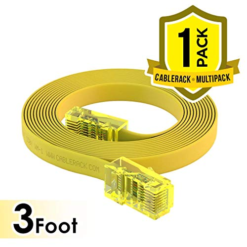 CableRack 3ft RJ45 to RJ45 Rollover Console Cable for Cisco Yellow