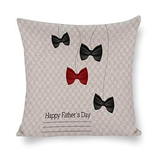 PeteGray Father¡s Day Pajarita 18 x 18 fundas de almohada decoración de casa de campo para sofá o salón decorativo para el padre, fundas de almohada para el dormitorio