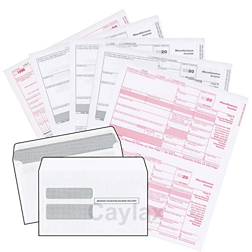 Complete 1099 misc Forms for 2020 and 1096 Tax Form and self Seal envelopes, All 1099 Government Approved 2020 kit for 10 vendors
