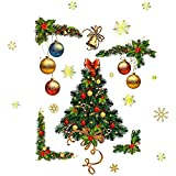 Gmasuber Calcomanías de pared para ventana de Navidad, diseño de copo de nieve, Papá Noel, decoración de Navidad, impermeable, papel pintado extraíble