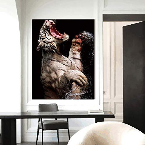 sanzangtang Poster und druckwand Wohnzimmer tiermalerei Dekoration leinwand Kunst ölgemälde weißer Tiger rahmenlose 50x62 cm