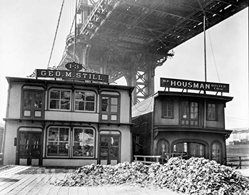 Historic Photo : Bernice Abbott, Changing New York: Oyster House, Pike Slip, Manhattan, Vintage Wall Art : 48in x 36in