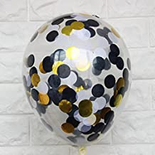 Fascola 20 Pcs Classic Black White Gold Confetti Balloons for Bachelorette Party Decorations - Wedding Background - Retirement Party