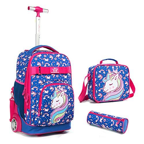 Kinder Rucksack mit Rädern, 3 in 1 Schulranzen Trolley Set Einhorn Schultasche mit Mittagessen Umhängetasche Bleistiftetui Multifunktions Trolley Rucksack für Teenager Jungen Mädchen