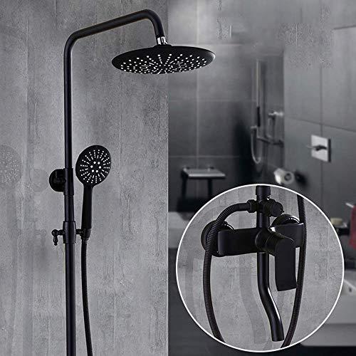 BINGFANG-W Cuarto de baño de cobre se puede levantar Ducha Negro retro Conjunto ducha de mano Sistema Dentro de la pared del hogar Mate Mate Round Top Booster spray grifo de la ducha Hermosa práctica