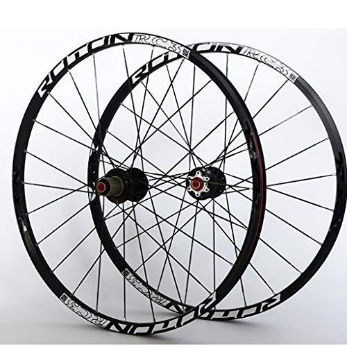 LSRRYD Ciclismo Ruedas Juego Ruedas Bicicleta Montaña Llanta Aleación Doble Pared Rodamiento F2 R5 Palin Liberación Rápida Freno Disco 9 10 11 Velocidad Negro (Size : 29inch)