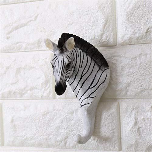 CCLLtuy Creative Animal Zebra Decoración de la Pared Decoración de la Pared de la Pared Gancho de la Pared Bolsa de la suspensión Tenedor de Las Llaves del Soporte Multiuso Decorativo Hook Decoración