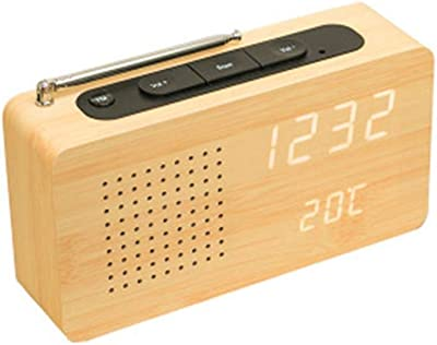 V.JUST 2 in1 Radio FM Reloj de Escritorio de Madera de bambú LED ...