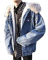 Bestmoodメンズ デニム ジャケット 裏ボア ゆったり ジージャン フード付き あったか 防寒着 冬服 コート(Vブルー)
