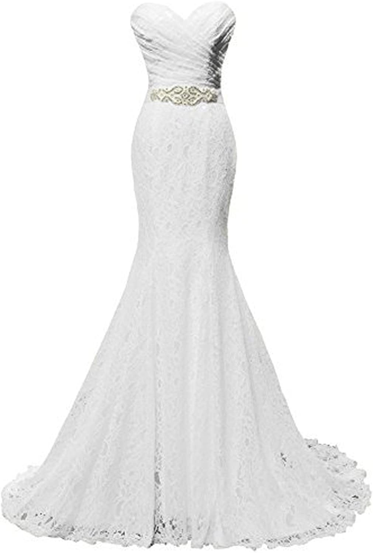 Huifany Women's Sweetheart Mermaid Church Lace Wedding Dress Bridal Gown with Sash Belt