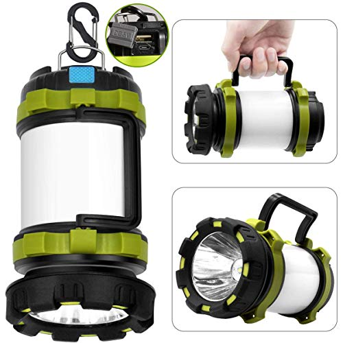 LED Camping Lantaarn Oplaadbaar, 6 Modi CREE LED zaklamp, 3 in 1 Multifunctionele Camping Lamp Power Bank, 850 Lumen Hoge Power Beam Zaklamp, Waterdichte Spotlight Searchlight S Lock Haak
