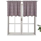 Hiiiman Cenefas de cortina verticales onduladas con puntos de formas circulares, juego de 2, 137 x 61 cm, aislamiento térmico para sala de estar