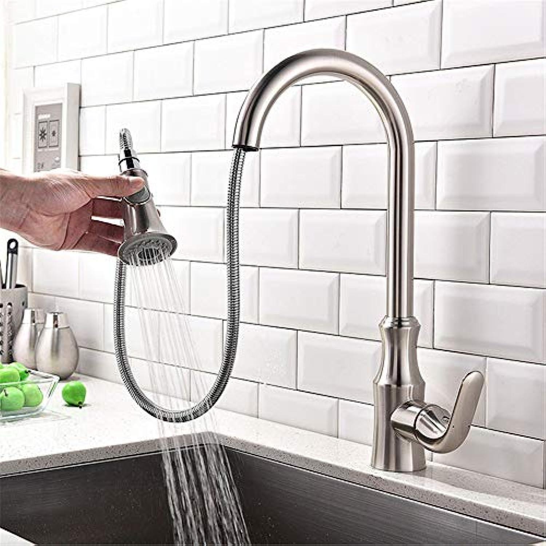 HUABABABAING Ausziehbarer Wasserhahn Alle kupfernen Badezimmer-Wasserhahn Schraubenschlüssel Typ Mischhahn, A, Küchengerte (Farbe   B)