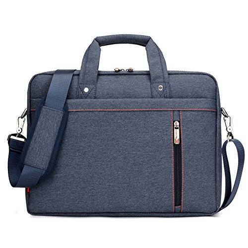 SLIN Double-Layer Air Cushion Shockproof Laptop Bag 17 inch Extensible Computer Shoulder Bag Messenger Crossbody Bag Water Resistant Business Briefcase for Acer Dell Hp Sony Ausa Samsung Lenovo Blue