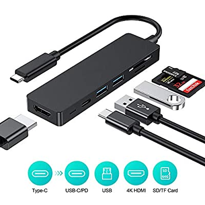 USB C HUB,6 IN 1 TYPE-C 3.1 HUB with 4K HDMI Adapter, Power Delivery& Date transferring, 2 USB 3.0 ports, microSD/SD Card Reader for MacBook Pro and More USB-C Devices (Black)
