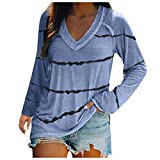 Women's Blouses Women's V-Neck T-Shirt Top Print Sweatshirts Long Sleeve Jumper Sweatshirt Damen Tunika Kleid lang Bluse Damen Sommer Kapuzenpullover Damen Tunika Kleid lang
