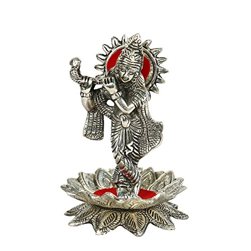 The Hue Cottage Lord Krishna auf Lotus Statue Indian religiösen Hindu- Figuren weiß Metallhandarbeit Silberglanzstück Innenkunstdekor