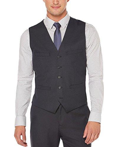 Perry Ellis Mens Checkered Classic Fit Suit Vest Navy S