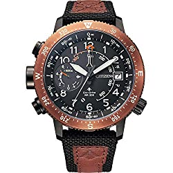 This Sporty watch has an Eco-drive technology (Recharged by any light source; never needs a battery) - The watch has a Calendar function: Date, Solar Powered, Luminous Hands,Compass quality 21 cm length and 20 mm width Brown Nylon strap with a Buckle...