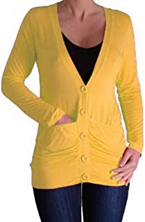 Eyecatch Pacific Draped Lightweight Womens Waterfall Button Cardigan with Pockets