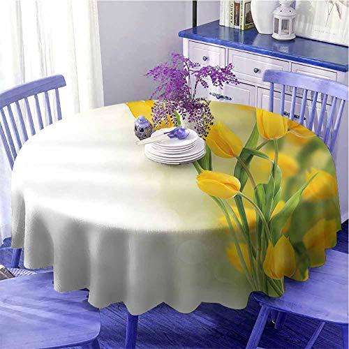 Tovaglia rotonda con fiori gialli celebrazione romantica tulipano Bouquet famosa pianta olandese tema botanico protezione tavolo diametro 160 cm senape felce verde